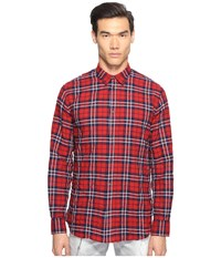 Dsquared Check Cotton Relaxed Dan Button Up Red Blue Men's Long Sleeve Button Up