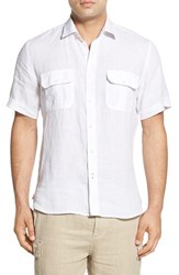 Men's Toscano Regular Fit Short Sleeve Linen Sport Shirt White