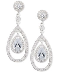 Anne Klein Silver Tone Pave And Crystal Teardrop Orbital Drop Earrings