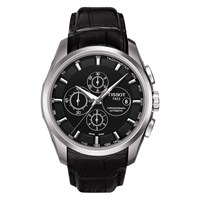 Tissot T0356271605100 Men's Couturier Chronograph Date Leather Strap Watch Black