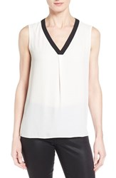 T Tahari Women's 'Julie' V Neck Sleeveless Blouse Antique Black