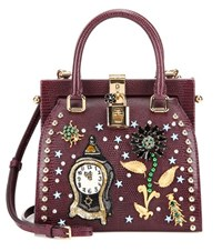 Dolce And Gabbana Retro Embellished Leather Crossbody Bag Purple