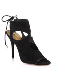 Aquazzura Sexy Thing Suede Cutout Booties Black