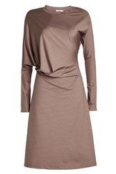 Jil Sander Draped Cotton Dress Grey