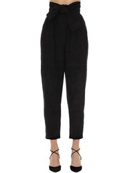 Zimmermann High Waisted Suede Pants Black