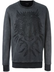 Diesel Bear Print Sweatshirt Grey