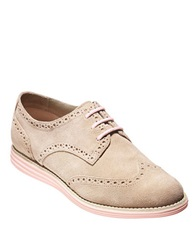 Cole Haan Lunargrand Leather Wingtip Oxfords Beige
