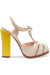 Fendi Leather And Lizard Effect Mary Jane Sandals White