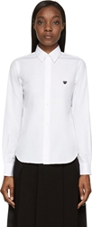 Comme Des Garcons White And Black Embroidered Heart Button Up Shirt