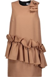 Msgm Ruffled Wool Fleece Mini Dress Tan