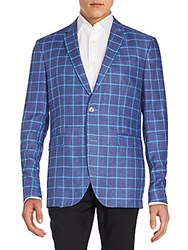 Sand Windowpane Checks Linen Sportcoat Blue