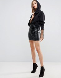 Asos Mini Skirt In Leather With Double Bow Detail Black