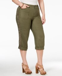 Inc International Concepts Plus Size Linen Embellished Cargo Capri Pants Only At Macy's Olive Drab