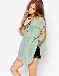 Glamorous Short Sleeve Sheer Smock Top Dusty Mint Green