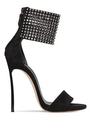 Casadei 120Mm Embellished Suede Sandals Black