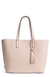 Cole Haan Payson Rfid Woven Leather Tote Pink Peach Blush