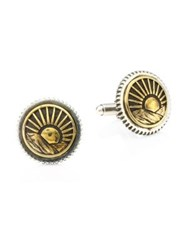 King Baby Studio American Voices Silver And Goldtone Sun Concho Cuff Links Yellow Gold