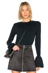 Autumn Cashmere Ruffle Sleeve Crew Dark Green