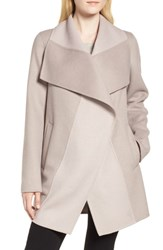 Tahari Nicky Double Face Wool Blend Oversize Coat Oyster Bay Brown Sugar
