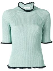 Golden Goose Deluxe Brand Ribbed Frill Trim Sweater Green