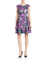 Betsey Johnson Patterned Fit And Flare Dress Purple Multi