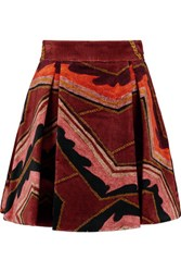 Just Cavalli Pleated Velvet Mini Skirt Burgundy