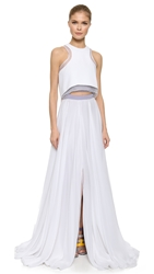 Prabal Gurung Beaded Gown With Cropped Overlay Lilac