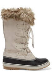 Sorel Joan Of Arctic Faux Fur Trimmed Waterproof Suede And Rubber Boots Off White