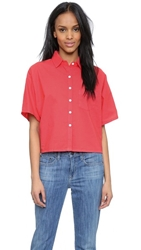 Band Of Outsiders Batiste Cropped Button Down Hot Red