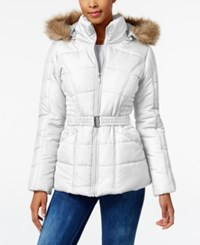 Rampage Faux Fur Trim Hooded Belted Puffer Coat Only At Macy's White