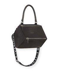 Givenchy Pandora Small Fabric Satchel Bag With Logo Strap Black