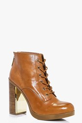 Boohoo Boutique Leather Lace Up Ankle Boot Tan