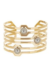Louise Et Cie Jewelry Wide Linear Cutout Grey Faux Pearl Cuff Bracelet Metallic
