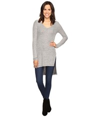 Splendid Long Sleeve V Neck Tunic Heather Grey Women's Blouse Gray