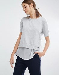 Boss Orange Texplore Layered Detail Top With Sheer Panel Detail Grey