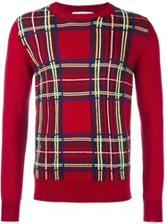 Comme Des Garcons Shirt Boy Plaid Jumper Red