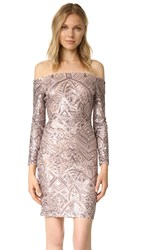 Bcbgmaxazria Embellished Off Shoulder Dress Rose Gold Combo