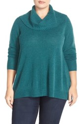 Sejour Cowl Neck Wool And Cashmere Sweater Plus Size Blue