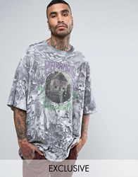 Reclaimed Vintage Inspired Super Oversized Band T Shirt With Lava Wash Grey