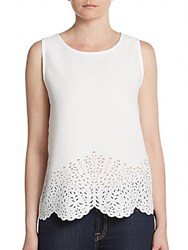 Catherine Malandrino Scalloped Tank Top Ivory