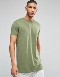 Asos Super Longline T Shirt Relaxed Skater Fit In Green Moss