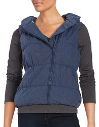 Bench Hooded Puffer Vest Dress Blue
