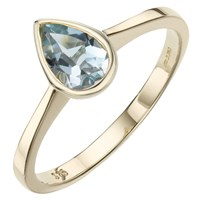 A B Davis 9Ct Yellow Gold Pearshaped Rubover Semi Precious Ring Aquamarine