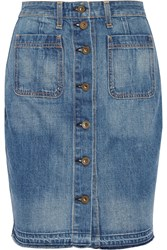 Rag And Bone Washed Denim Mini Skirt
