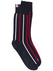 Thom Browne Banker Stripe Intarsia Socks Blue