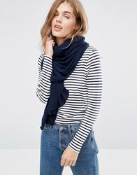 Pieces Long Knitted Scarf Navy