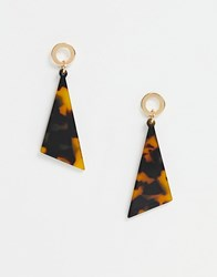 South Beach Statement Square Drop Earrings Gold