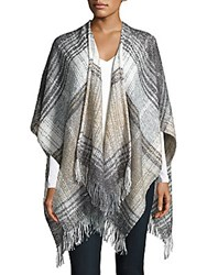 Steve Madden Checkered Poncho Black Beige