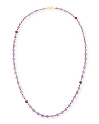 Splendid Company Melon Carved Amethyst And Ruby Necklace