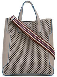 Furla Perforated Tote Men Leather One Size Grey